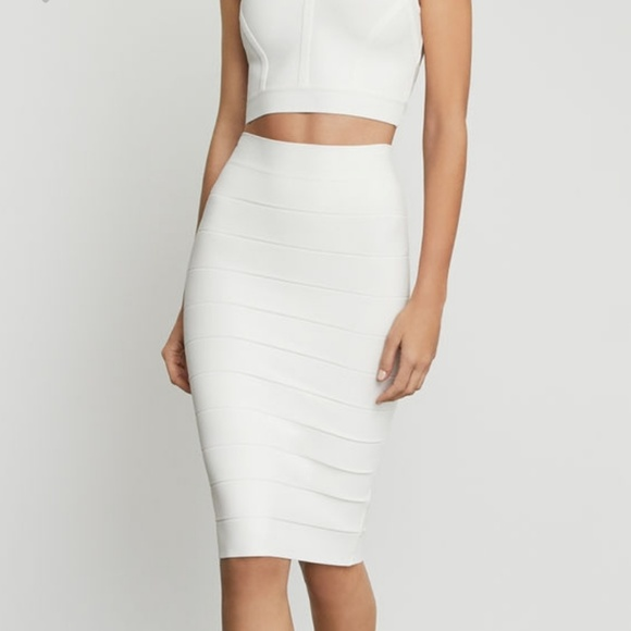 5d15b58403 BCBGMaxAzria Skirts | Leger Pencil Skirt Whitegardenia | Poshmark